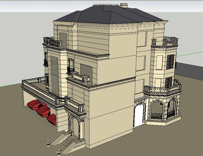法式別墅建筑設計方案su模型[原創]