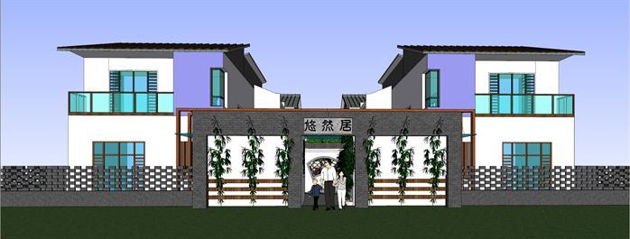 某中式合院别墅建筑方案设计su模型[原创]
