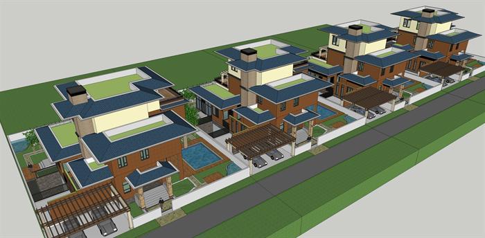 某东南亚独栋别墅建筑方案设计su模型[原创]