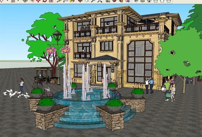某欧式独栋豪宅别墅建筑方案设计su模型视角1