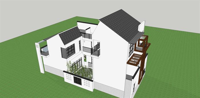 新中式沿街别墅建筑方案设计su模型视角1