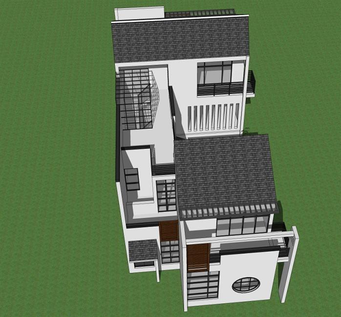 新中式沿街别墅建筑方案设计SU模型