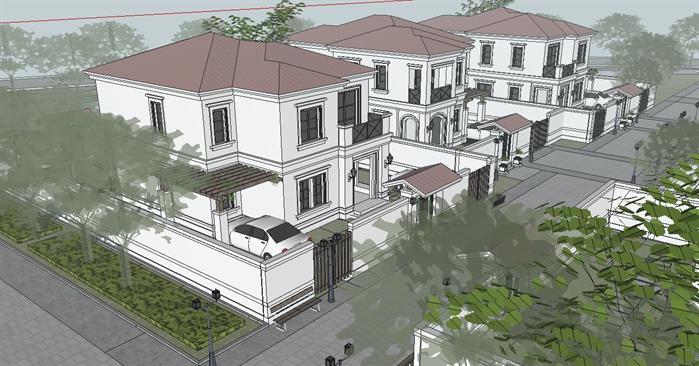 某滨海欧式度假别墅群建筑方案设计su模型视角1
