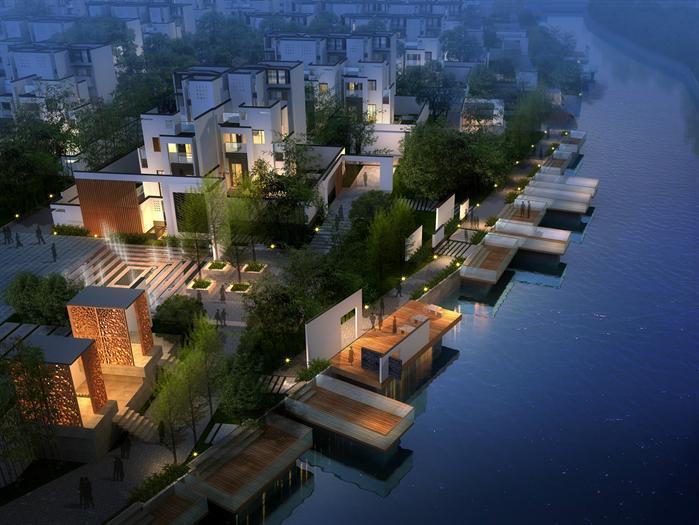 现代中式别墅建筑设计方案 带单体SU CAD总平面图 效果图
