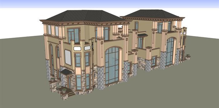 某欧式双拼三层别墅建筑方案设计su模型[原创]