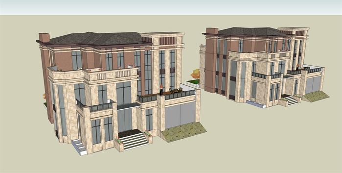 某独栋欧式别墅洋房建筑设计方案su模型[原创]