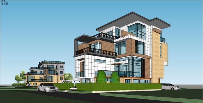 某现代风格模型原创方案设计SU别墅[建筑]交互设计和ui交互设计图片