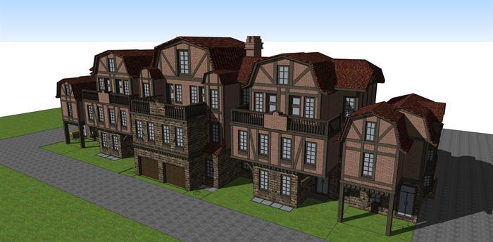 某德式联排别墅建筑方案设计su模型[原创]