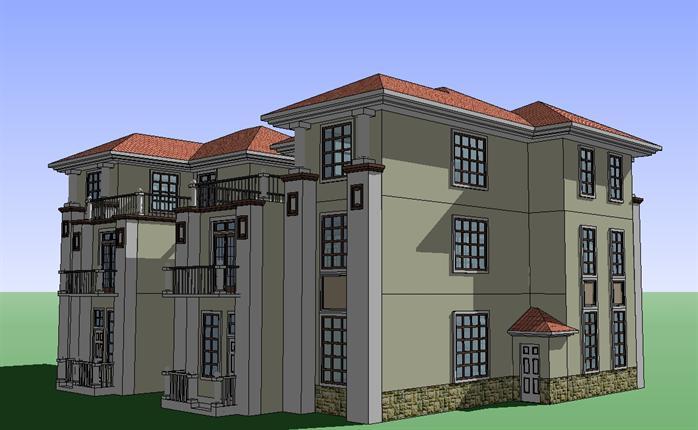 某欧式风格双拼别墅建筑设计方案su模型[原创]