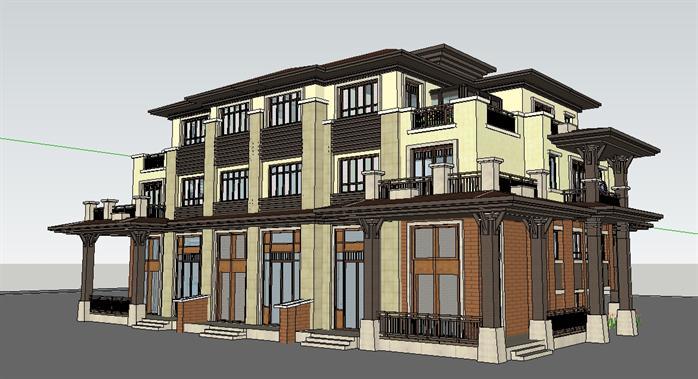 三拼式欧式花园别墅建筑SU精美模型设计,建筑以褐色、黄色为主,色彩鲜明,模型精致,此模型可以在同类项目中作参考。