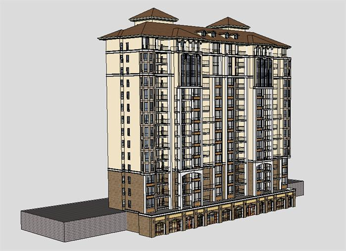 小高层住宅楼设计,是欧陆式风格,ps效果图做的比较细致,对周围的景观都做了精心的处理,su三维模型设计的更为精细,对小细节都处理的比较到位,对材质的设计也是做了精心的推敲。