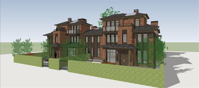 某欧式合院式别墅建筑方案设计su模型视角2
