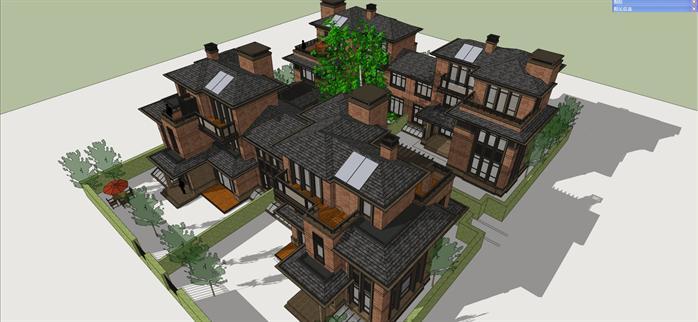 某欧式合院式别墅建筑方案设计su模型视角4