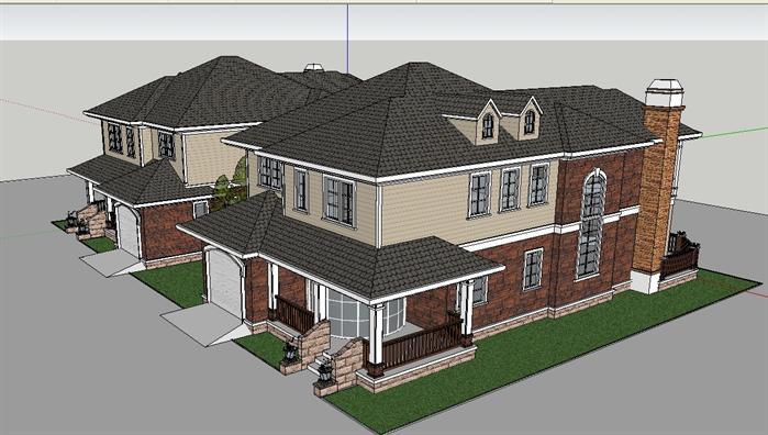 某欧式别墅建筑方案设计su模型[原创]