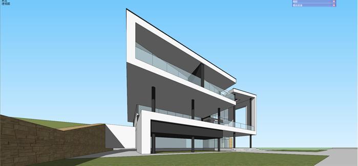 某现代简约风格别墅建筑方案设计su模型(含效果图)