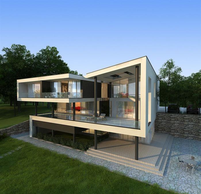 某现代简约风格别墅建筑方案设计SU模型(含效果图),,该模型的设计还是比较细致的,含有SU效果图,可以用作建筑别墅设计参考用途。