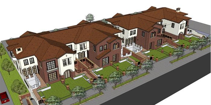 某西班牙风格联排别墅建筑方案设计模型[原创]