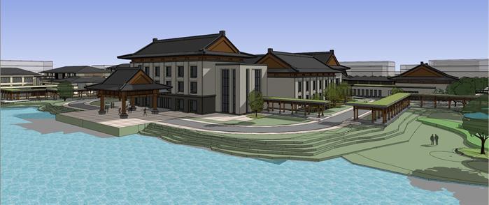 中式汉唐风别墅群sketchup精美设计模型(6)