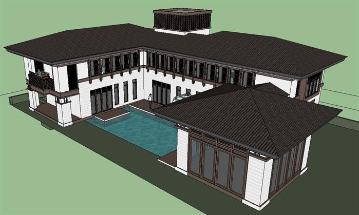 某汉唐风格栋别墅建筑方案设计su模型[原创]