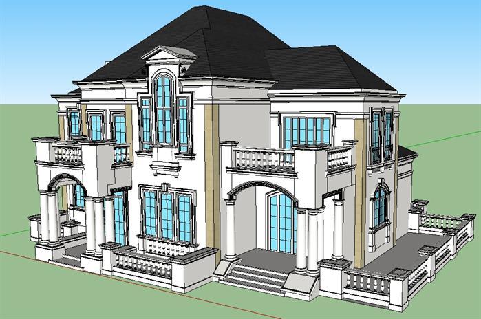 某欧式豪宅别墅建筑设计方案su模型视角1