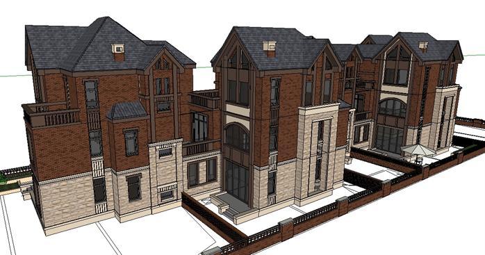 某五拼英式联排别墅建筑方案设计su模型[原创]