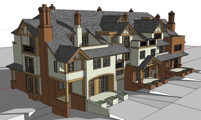某欧式联排三拼别墅建筑方案设计su模型视角1