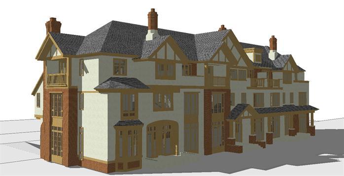 某欧式联排三拼别墅建筑方案设计su模型[原创]