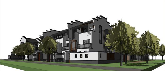 某别墅中式合院式模型建筑方案设计SU徽派[原别墅装修搜狐图片