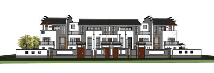 某徽派中式合院式别墅建筑方案设计SU模型