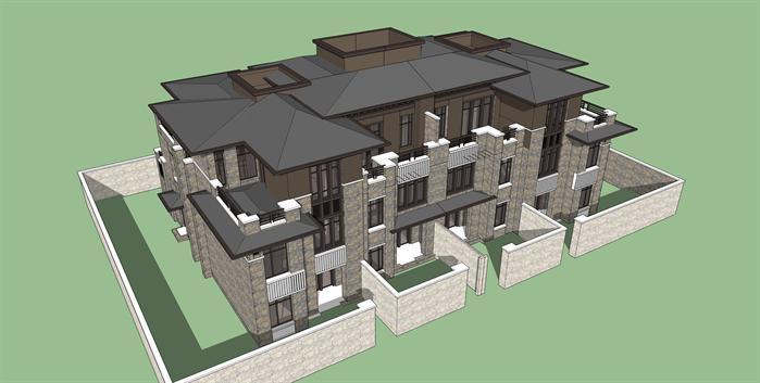 新中式三层别墅建筑设计方案su模型[原创]