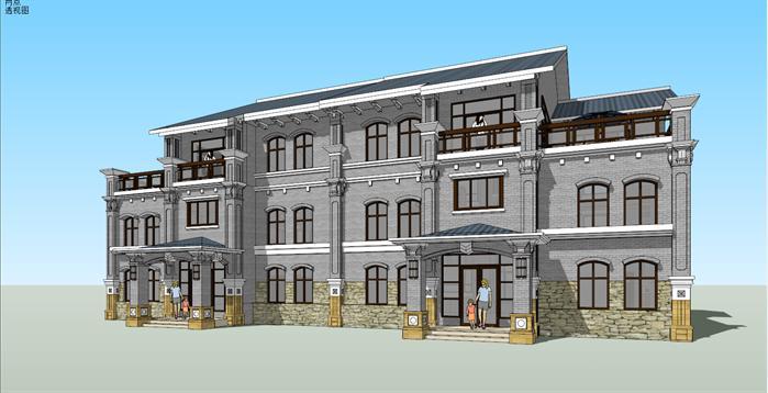 > 某西溪风情欧式双拼别墅建筑方案设计su模型,模型场景比较大,该模