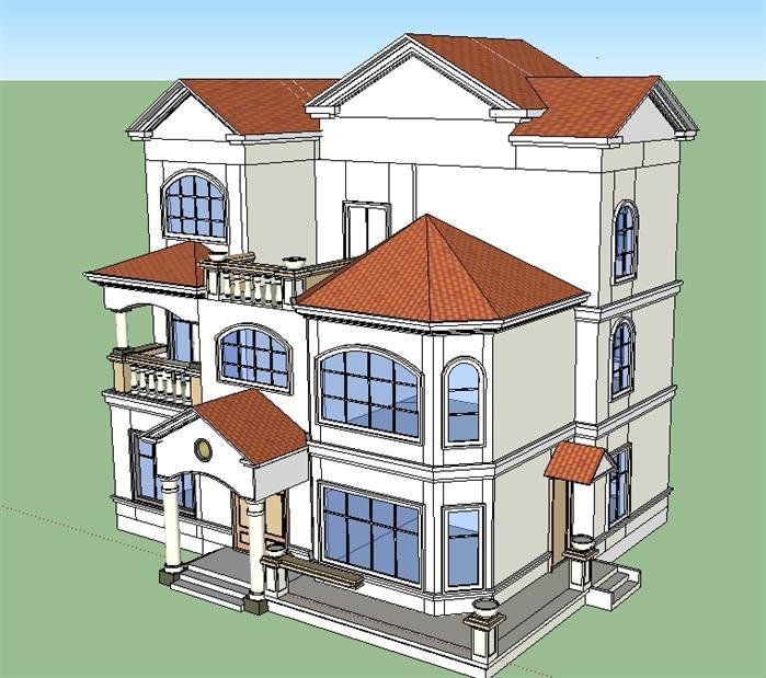 某农村自建欧式别墅建筑方案设计su模型[原创]