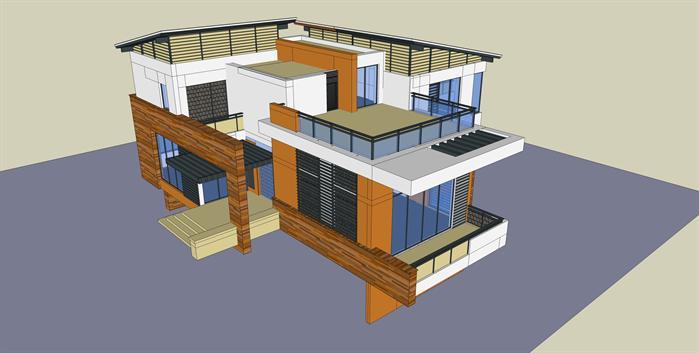 某现代简约度假别墅建筑方案设计su模型