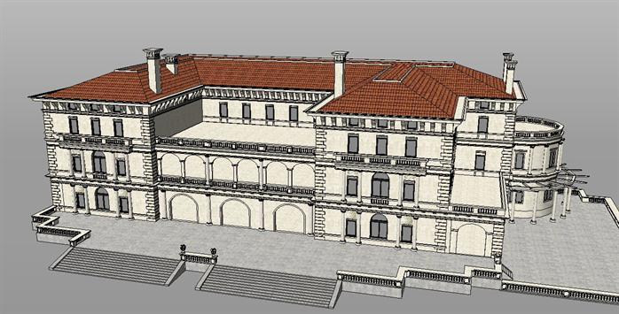 某法式宴会厅建筑设计方案SU模型,模型场景比较大,该模型的设计还是比较细致的,含有SU效果图,可以用作建筑别墅设计参考用途。