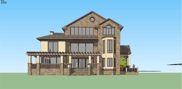 某美式独栋别墅建筑方案设计su模型视角1图片