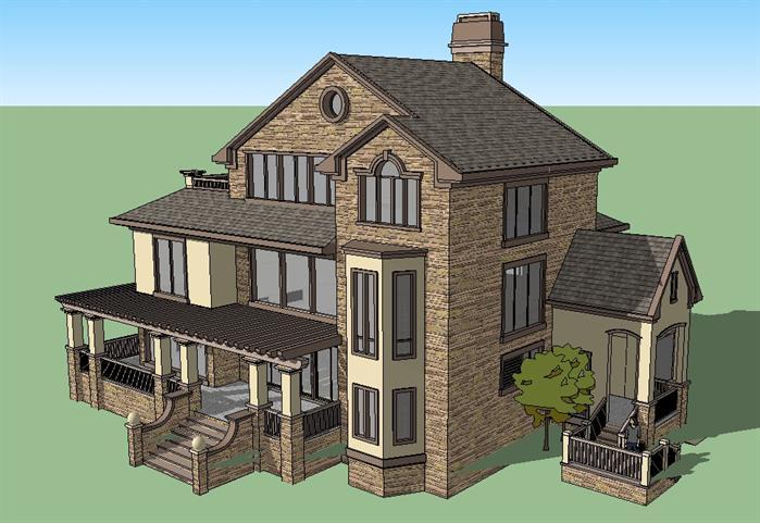 某美式独栋别墅建筑方案设计su模型视角3图片