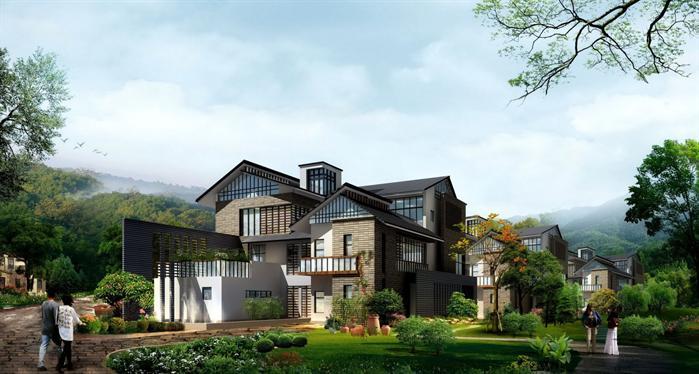 某现代中式别墅建筑设计方案SU模型,模型场景比较大,该模型的设计还是比较细致的,含有SU效果图,可以用作建筑别墅设计参考用途。