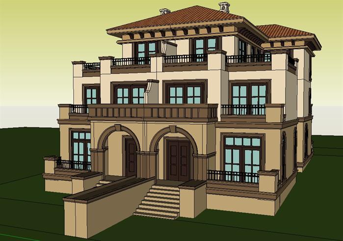 英式别墅建筑设计方案su模型[原创]