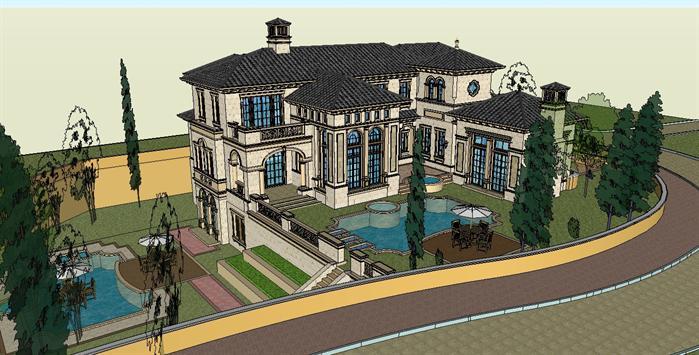 某意式大庄园别墅建筑方案设计su模型[原创]