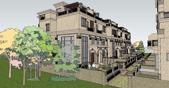 某欧式新古典联排别墅建筑方案设计su模型[原创]