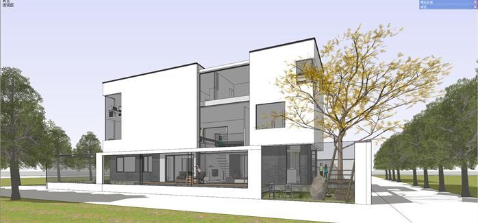 某现代简约风格别墅建筑方案设计su模型