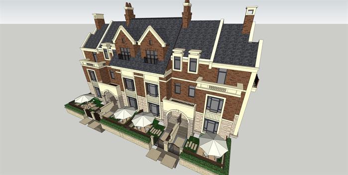某英伦风格联排别墅建筑方案设计su模型[原创]