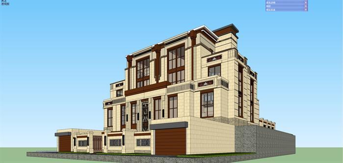 某新中式山地联排别墅建筑设计方案su模型视角4