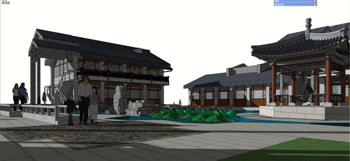 某徽派新中式合院别墅建筑方案设计SU模型 含景观