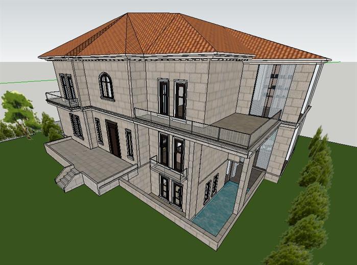 欧式别墅建筑设计方案鸟瞰图(3)