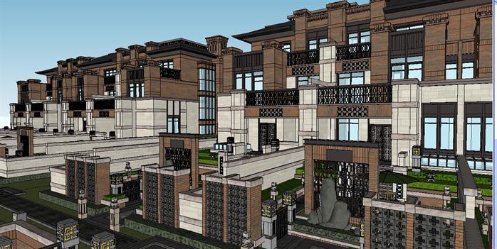 新古典联排别墅群建筑设计方案效果图(1)