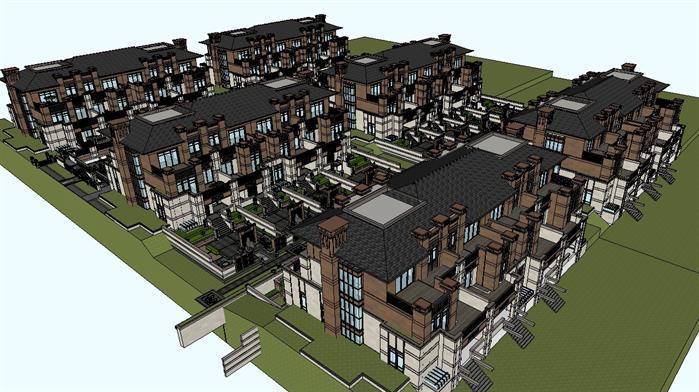 新古典联排别墅群建筑设计方案鸟瞰图(2)