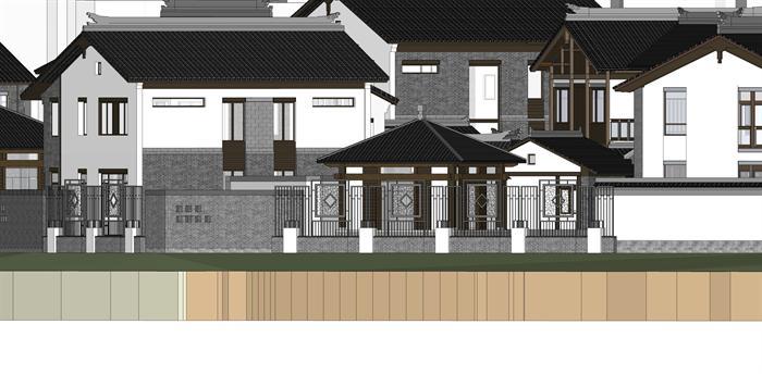 某新中式徽派独栋别墅建筑方案设计su模型视角2图片