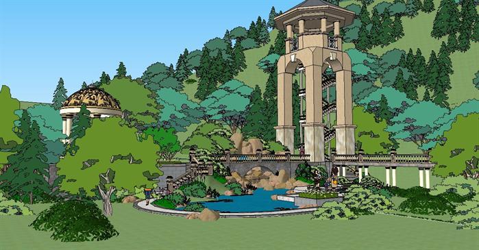 某欧式观景塔建筑景观方案设计su模型[原创]