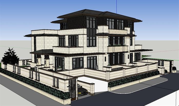 某新中式雙拼豪宅別墅建筑方案設計su模型視角2